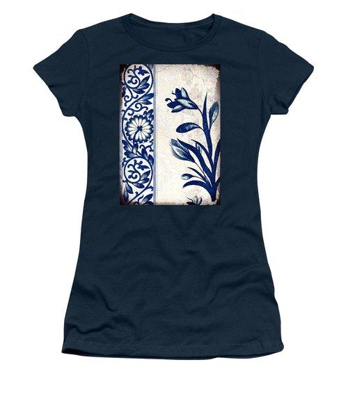 Blue Oriental Vintage Tile 03 Women's T-Shirt (Athletic Fit)
