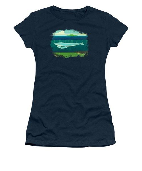 Blue Whale Women's T-Shirt (Junior Cut) by David Ardil