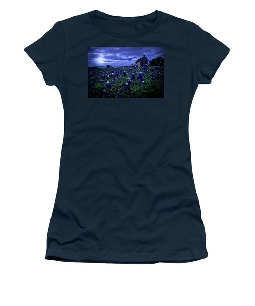 Women's T-Shirt (Junior Cut) featuring the photograph Bluebonnets In The Blue Hour by Linda Unger