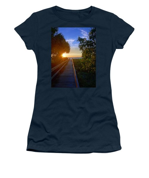 Sunset At The End Of The Boardwalk Women's T-Shirt (Junior Cut) by Robb Stan