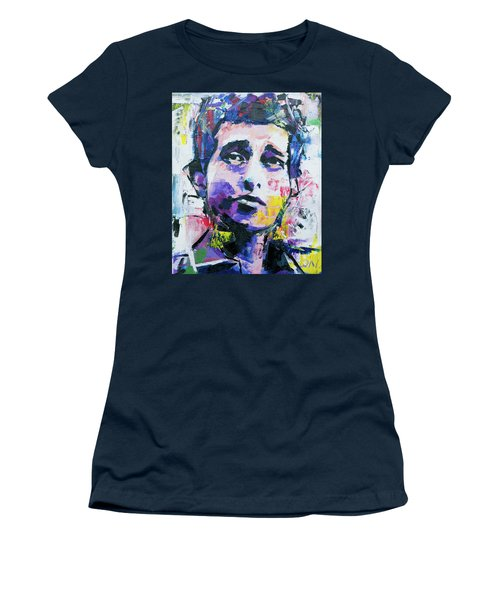 Bob Dylan Portrait Women's T-Shirt (Junior Cut) by Richard Day