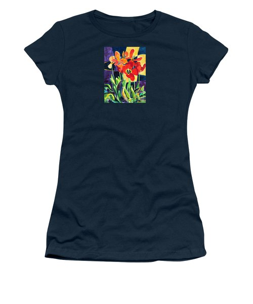 Bold Quilted Tulips Women's T-Shirt (Athletic Fit)