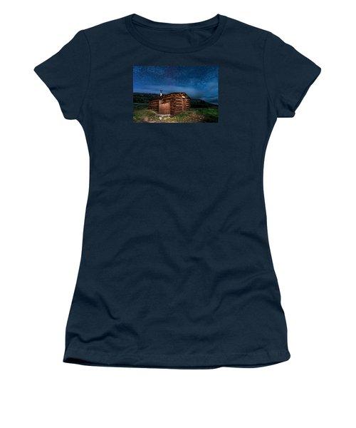 Boreas Pass Cabin Moonlit Night Women's T-Shirt (Junior Cut) by Michael J Bauer