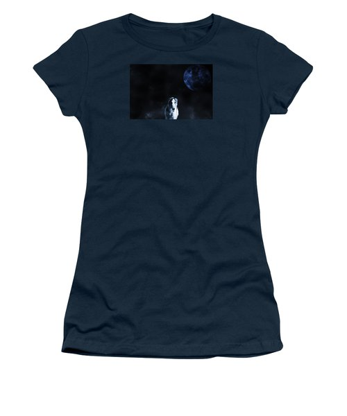 Women's T-Shirt (Junior Cut) featuring the photograph Borzoi Wolf-hound, Hunting Under A Full Moon by Christian Lagereek