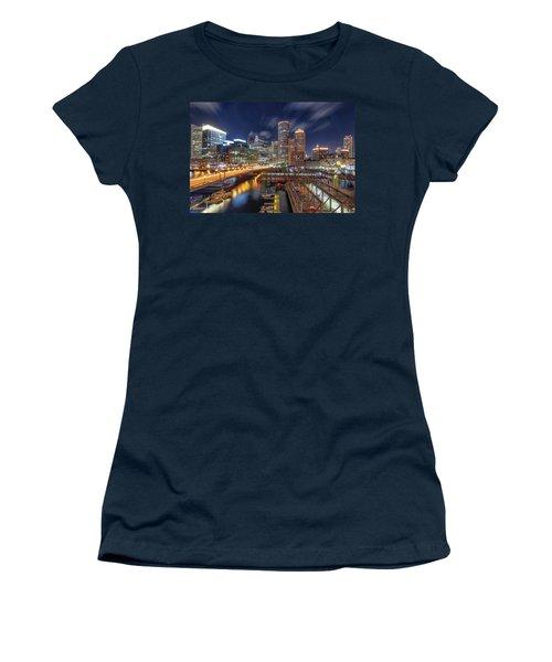 Boston's Skyline At Night Women's T-Shirt