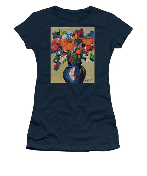 Women's T-Shirt (Junior Cut) featuring the painting Bouquet-a-day #8 Original Mixed Media Painting On Canvas 70.00 Incl Shipping By Elaine Elliott by Elaine Elliott