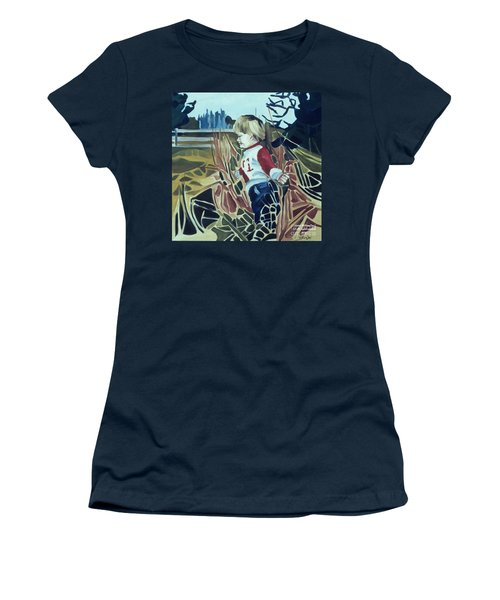 Boy In Grassy Field Women's T-Shirt (Athletic Fit)