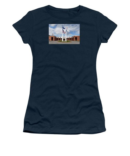 Women's T-Shirt (Junior Cut) featuring the photograph Brandeis University Gosman Sports And Convocaton Center by Betty Denise