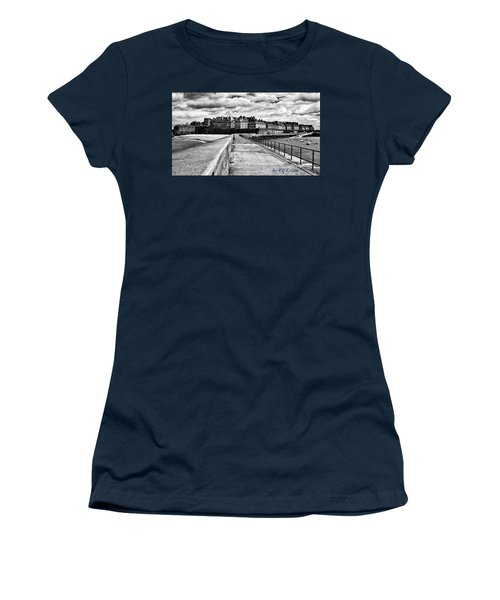 Women's T-Shirt (Athletic Fit) featuring the photograph Breakwater Walkway To Intra Muros by Elf Evans