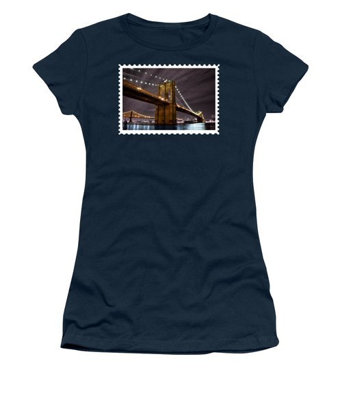 Brooklyn Bridge At Night New York City Women's T-Shirt