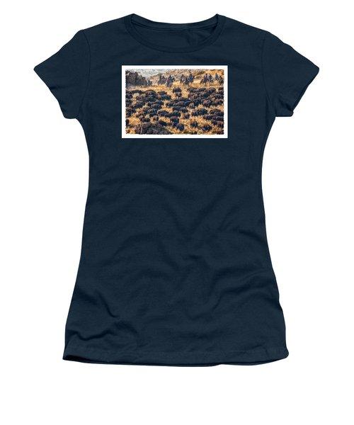 Buffalo Roundup Women's T-Shirt (Junior Cut) by Kristal Kraft