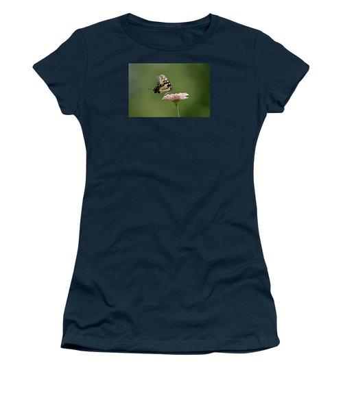 Butterfly On Zinnia Women's T-Shirt (Junior Cut) by Wanda Krack