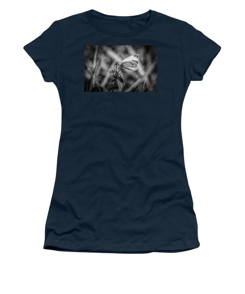 Cabbage White In Gray Women's T-Shirt (Junior Cut) by Ray Congrove