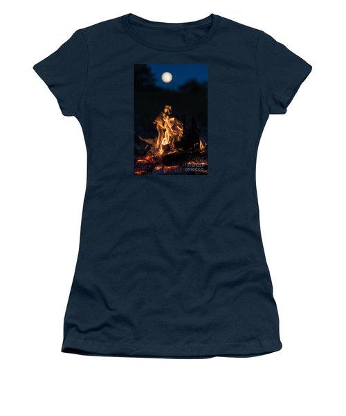 Camp Fire And Full Moon Women's T-Shirt (Junior Cut) by Cheryl Baxter
