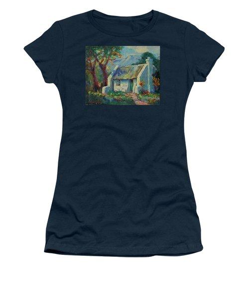 Cape Cottage With Mountains Art Bertram Poole Women's T-Shirt (Athletic Fit)