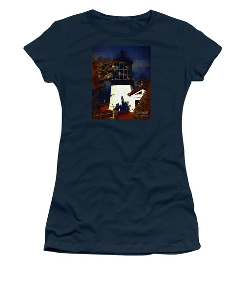 Women's T-Shirt (Junior Cut) featuring the digital art Cape Meares Lighthouse In Gothic by Kirt Tisdale