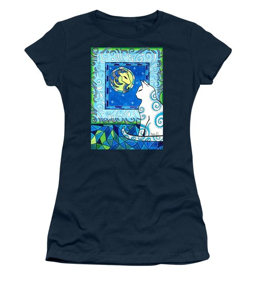 Women's T-Shirt (Athletic Fit) featuring the painting Capricorn Cat Zodiac by Dora Hathazi Mendes
