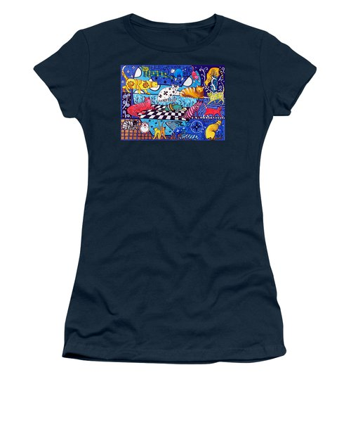 Women's T-Shirt (Junior Cut) featuring the painting Cat Cocktail - Cat Art By Dora Hathazi Mendes by Dora Hathazi Mendes