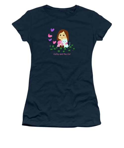 Cathy And The Cat With Butterflies  Women's T-Shirt