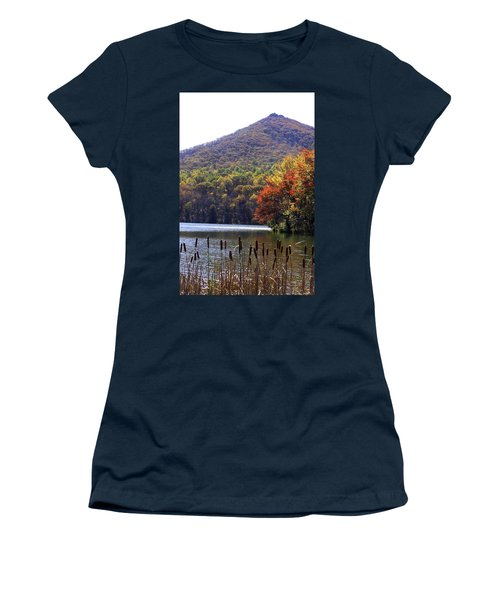 Cattails By Lake With Sharp Top In Background Women's T-Shirt