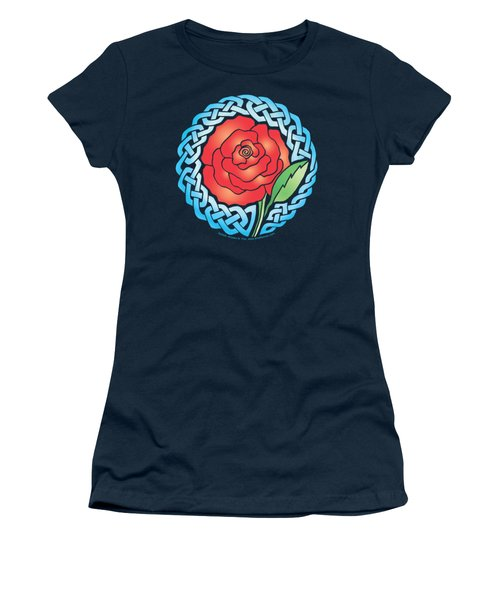 Women's T-Shirt (Junior Cut) featuring the mixed media Celtic Rose Stained Glass by Kristen Fox