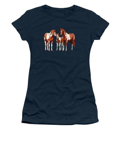 Chestnut Paint Horses In Winter Pasture Women's T-Shirt (Athletic Fit)