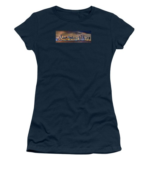 Chicago Skyline At Night Panorama Color 1 To 3 Ratio Women's T-Shirt (Junior Cut) by Jon Holiday