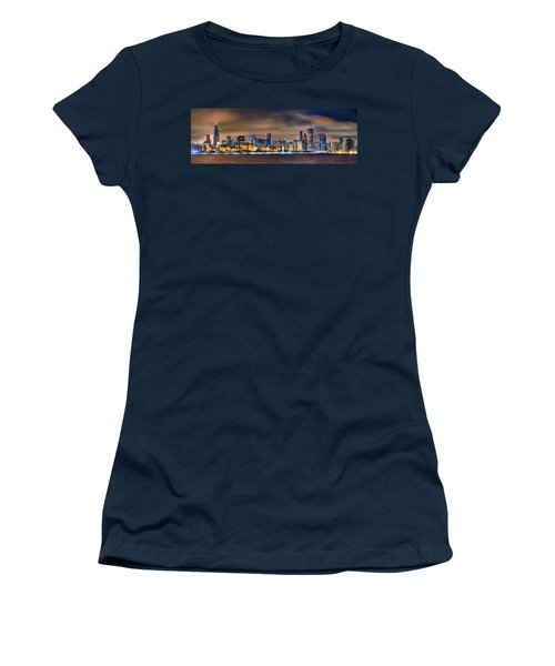 Chicago Skyline At Night Panorama Color 1 To 3 Ratio Women's T-Shirt