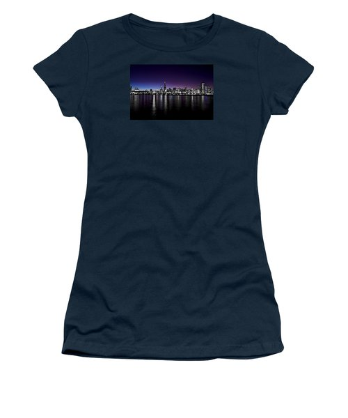 Women's T-Shirt (Junior Cut) featuring the photograph Chicago Skyline Bnw With Blue-purple by Richard Zentner