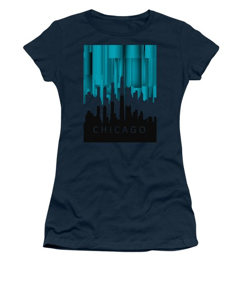 Chicago Turqoise Vertical In Negetive Women's T-Shirt (Athletic Fit)