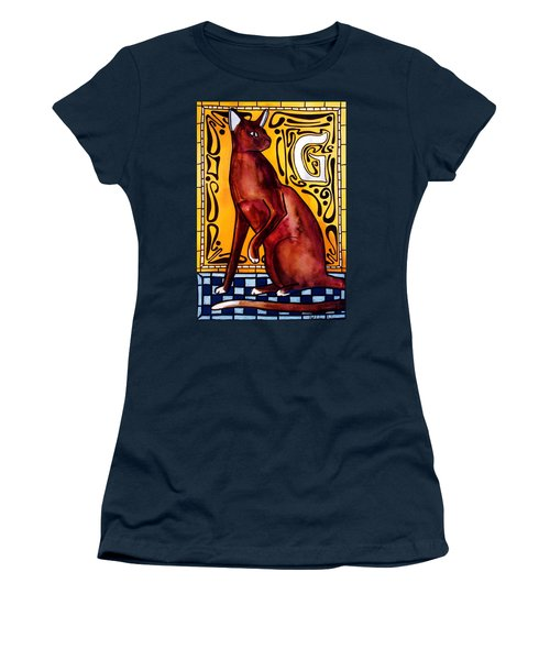 Women's T-Shirt (Junior Cut) featuring the painting Chocolate Delight - Havana Brown Cat - Cat Art By Dora Hathazi Mendes by Dora Hathazi Mendes