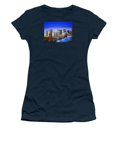 Women's T-Shirt (Junior Cut) featuring the painting City At Twilight by Donna Blossom