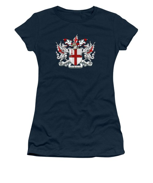 City Of London - Coat Of Arms Over Blue Leather  Women's T-Shirt (Athletic Fit)