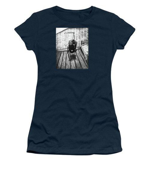 Women's T-Shirt featuring the mixed media Rhode Island Civil War, Vacant Chair by Monique Faella
