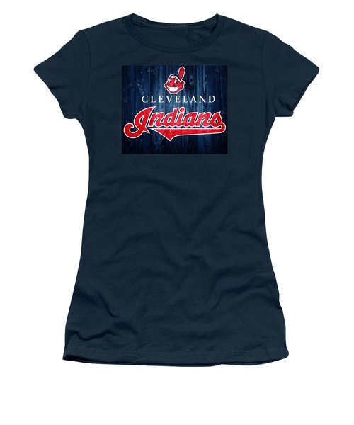 Women's T-Shirt featuring the photograph Cleveland Indians Barn Door by Dan Sproul