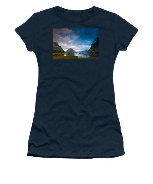 Cloudy Morning At Milford Sound At Sunrise Women's T-Shirt (Athletic Fit)