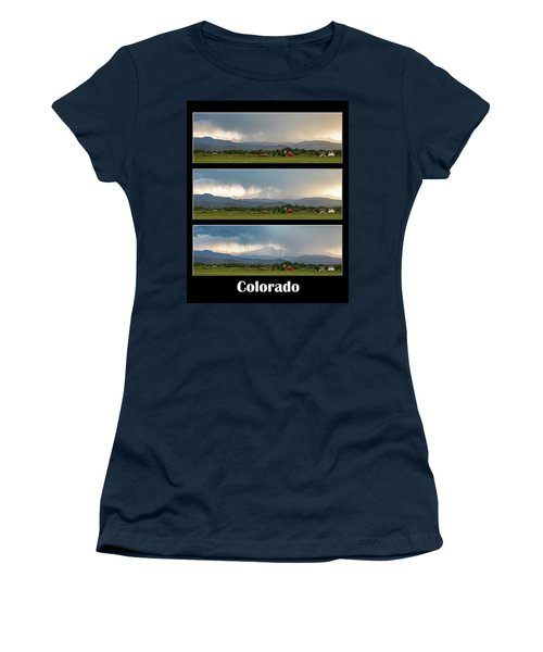 Women's T-Shirt (Junior Cut) featuring the photograph Colorado Front Range Longs Peak Lightning And Rain Poster by James BO Insogna