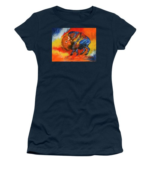 Colorful Bison Women's T-Shirt (Athletic Fit)