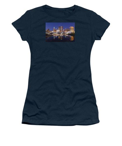 Columbus Skyline Reflection Women's T-Shirt (Junior Cut) by Alan Raasch