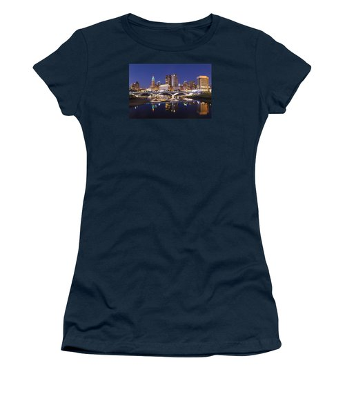 Columbus Skyline Reflection Women's T-Shirt (Athletic Fit)