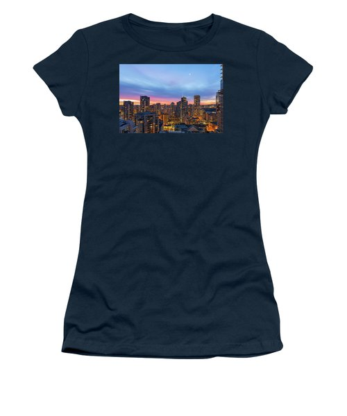 Condominium Buildings In Downtown Vancouver Bc At Sunrise Women's T-Shirt (Athletic Fit)