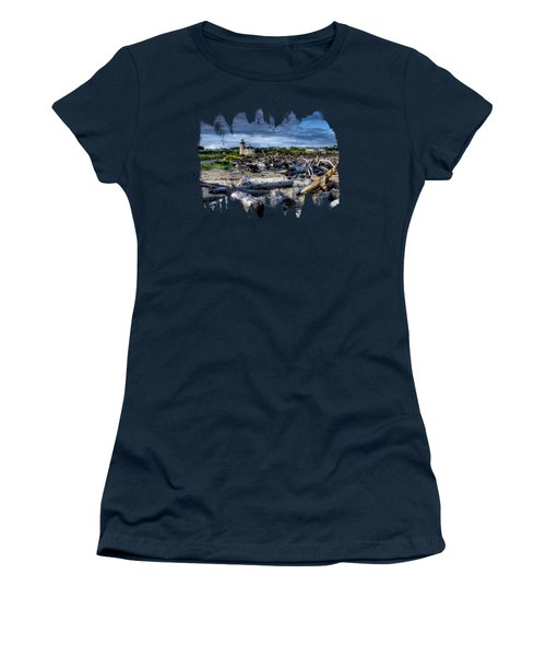 Coquille River Lighthouse And Driftwood Women's T-Shirt (Athletic Fit)