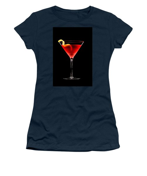 Cosmopolitan Cocktail In Front Of A Black Background  Women's T-Shirt