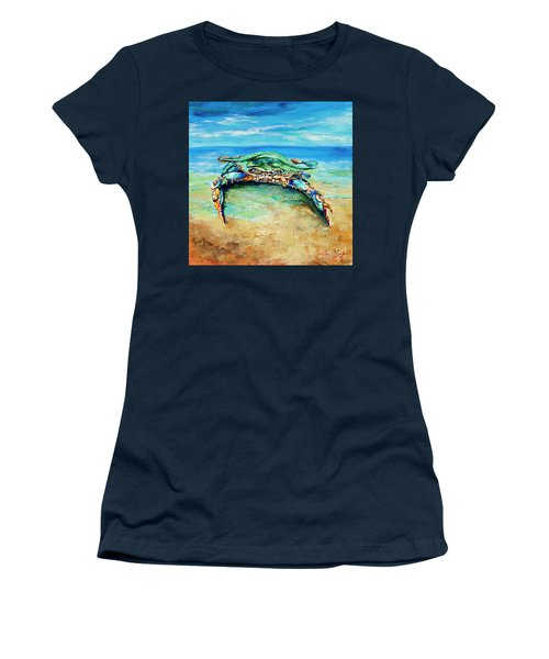 Crabby At The Beach Women's T-Shirt (Junior Cut) by Dianne Parks