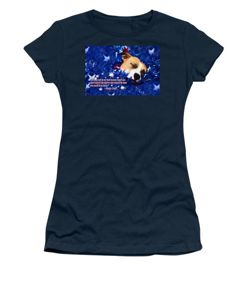 Women's T-Shirt (Junior Cut) featuring the photograph Cradled By A Blanket Of Stars And Stripes - Quote by Shelley Neff