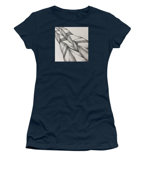 Women's T-Shirt (Athletic Fit) featuring the drawing Crumpled by Jan Steinle