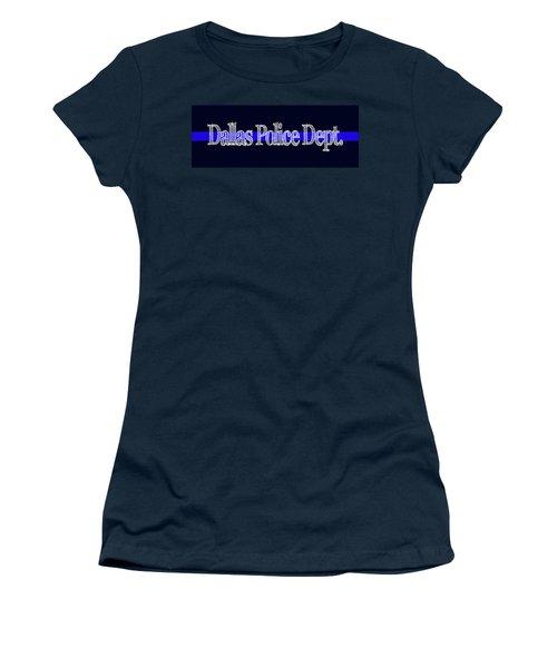 Dallas Police Dept. Blue Line Mug Women's T-Shirt (Junior Cut) by Robert J Sadler