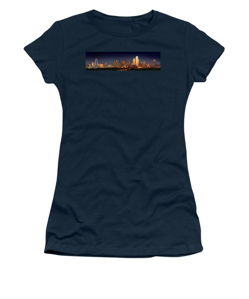 Dallas Skyline At Dusk  Women's T-Shirt (Junior Cut) by Jon Holiday