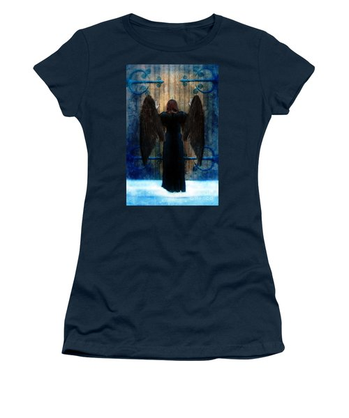 Dark Angel At Church Doors Women's T-Shirt (Junior Cut) by Jill Battaglia