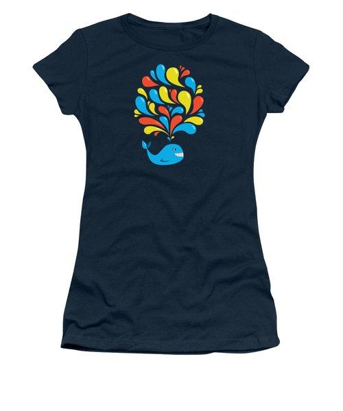 Dark Colorful Splash Happy Cartoon Whale Women's T-Shirt